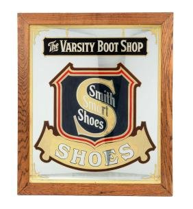 The Varsity Boot Shop reverse on glass advertising