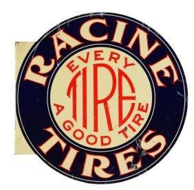 Racine Tires Tin Flange Advertising Sign.