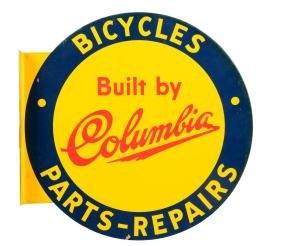 Columbia Bicycles Tin Flange Sign.