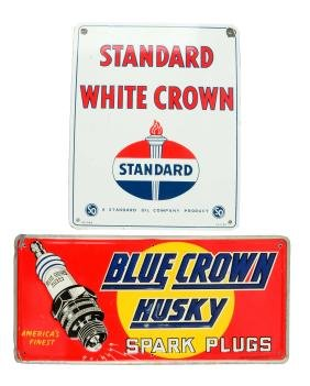 Lot of 2: Standard & Blue Crown Spark Plugs Advertising