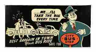 City Bus Stop Automobile Tin Advertising Sign.
