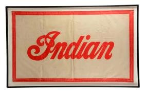 1940's Indian Motorcycles Cloth Advertising Banner.
