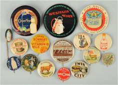 Lot Of 16 Early Milk Related Advertising Pinbacks