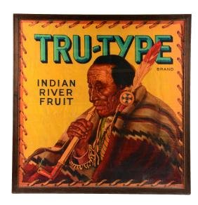 Tru - Type Indian River Fruit Sign.