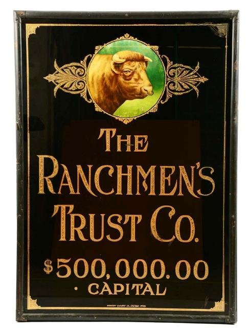 The Ranchmen's Trust Co. Reverse Glass Advertising