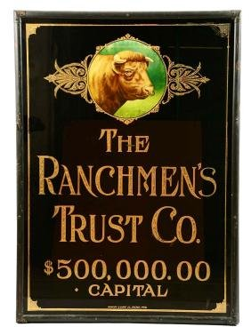 The Ranchmen's Trust Co. Reverse Glass Advertising