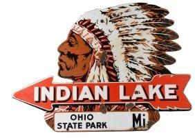 Indian Lake, Ohio Porcelain Diecut Sign.