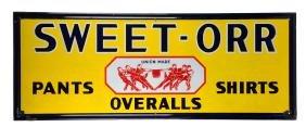 Large Sweet Orr Porcelain Embossed Advertising Sign.