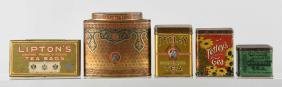 Lot Of 5: Assorted Tin Tea Containers.