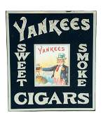 Reverse On Glass Yankees Cigars Sign