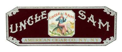 Reverse On Glass Uncle Sam Cigar Sign