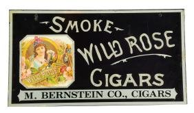 Reverse On Glass Wild Rose Cigars Sign.