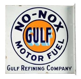 Gulf No-Nox Motor Fuel Porcelain Flange Sign.