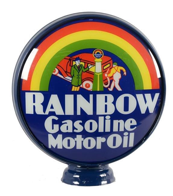 "Rainbow Gasoline Motor Oil 15"" Single Globe Lens."