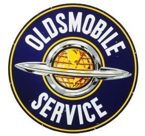 Oldsmobile Service With Saturn Logo Porcelain Sign.
