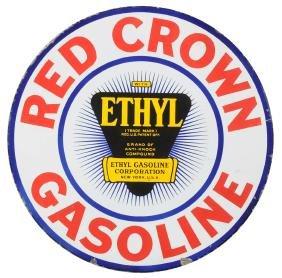 Red Crown Gasoline With Ethyl Logo Porcelain Sign.