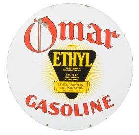 Omar Gasoline With Ethyl Logo Porcelain Sign.