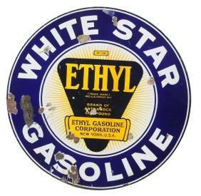 White Star Gasoline With Ethyl Logo Porcelain Sign.