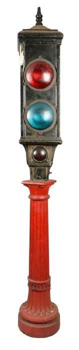 Unusual Stoplight On Ornate Cast Iron Stand.