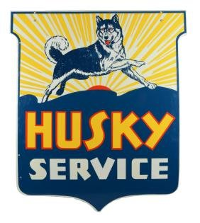 Husky Service Shield Porcelain Sign With Dog And