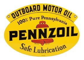 Pennzoil Outboard Motor Oil Die-cut Tin Sign.
