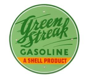"Green Streak Gasoline ""A Shell Product"" Porcelain Sign."