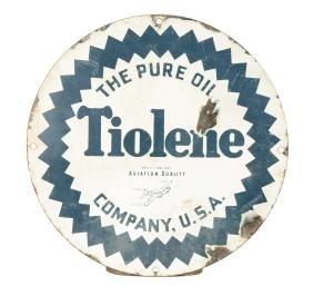Tiolene Aviation Quality Oil Porcelain Sign.
