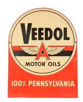 Veedol Motor Oil Tombstone Shaped Metal Sign.