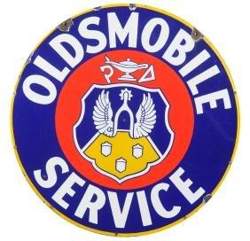 Oldsmobile Service With Crest Logo Porcelain Sign.