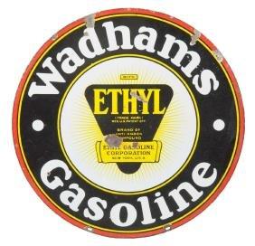 Wadhams Gasoline With Ethyl Logo Porcelain Sign.
