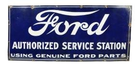 Ford Authorized Service Station Porcelain Sign.