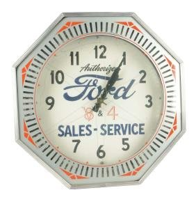 Authorized Ford Sales & Service V-8 & 4 Neon Clock.