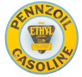 Pennzoil Gasoline With Ethyl Porcelain Logo Sign.