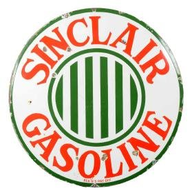 Sinclair Gasoline With Stripes Porcelain Sign.