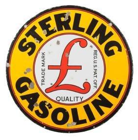 Sterling Gasoline With Logo Porcelain Sign.
