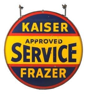 Kaiser-Frazer Approved Service Porcelain Sign.