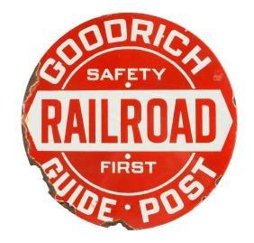 "Goodrich Guide Post ""Railroad"" Porcelain Sign."
