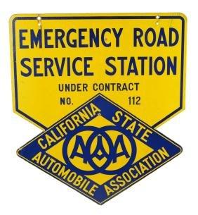 California AAA Emergency Road Service Station Porcelain