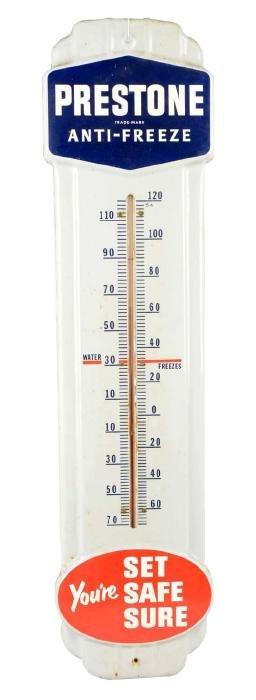 Prestone Anti Freeze Porcelain Thermometer.