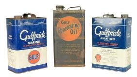 Lot Of 3: Gulfpride Motor Oil One Gallon Cans.