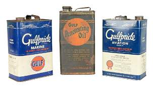 Lot Of 3 Gulfpride Motor Oil One Gallon Cans