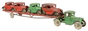 Arcade Ford Model-T Truck & Car Trailer With Four Cars.