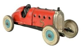 Hubley Cast Iron Race Car #5 With Driver.