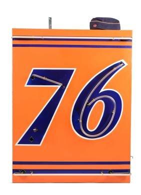 (Union) 76 Neon Porcelain Sign And Cap.