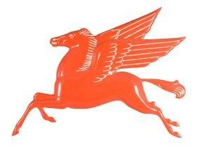 (Mobil) Pegasus Embossed Die-cut Porcelain Sign.