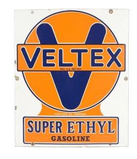 Veltex Super Ethyl Gasoline Porcelain Sign.