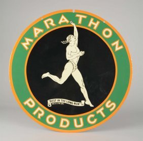 Marathon Products With Runner Graphics Porcelain Sign.