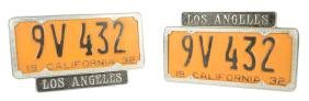 Lot Of 2: 1932 California Matched Car License Plates In