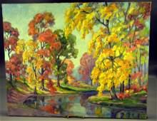 William H. Eppens Aumtumn Landscape, Oil on Canvas