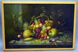 L. Reid, Fruit Still Life Oil on Canvas